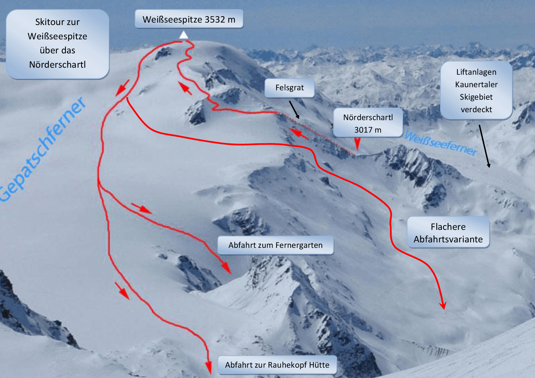 Skitour auf die Weißseespitze im Kaunertal