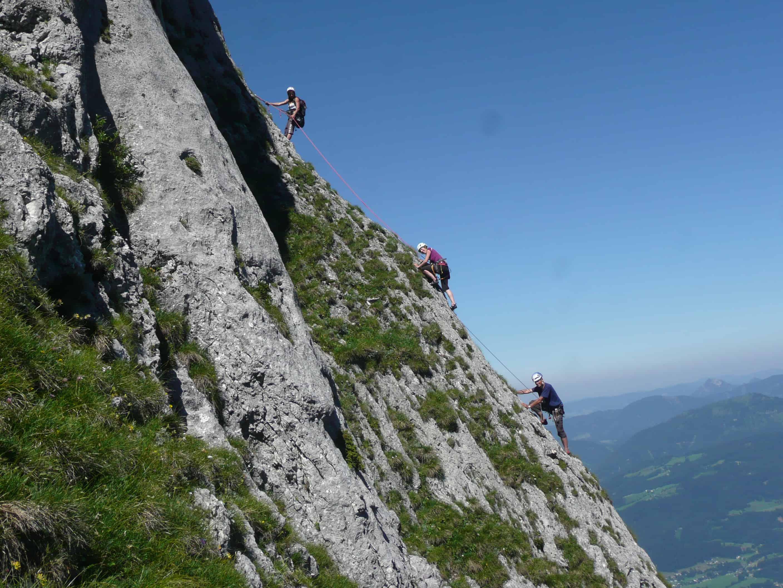 Klettern am Blausandpfeiler am Salzburger Hochthron