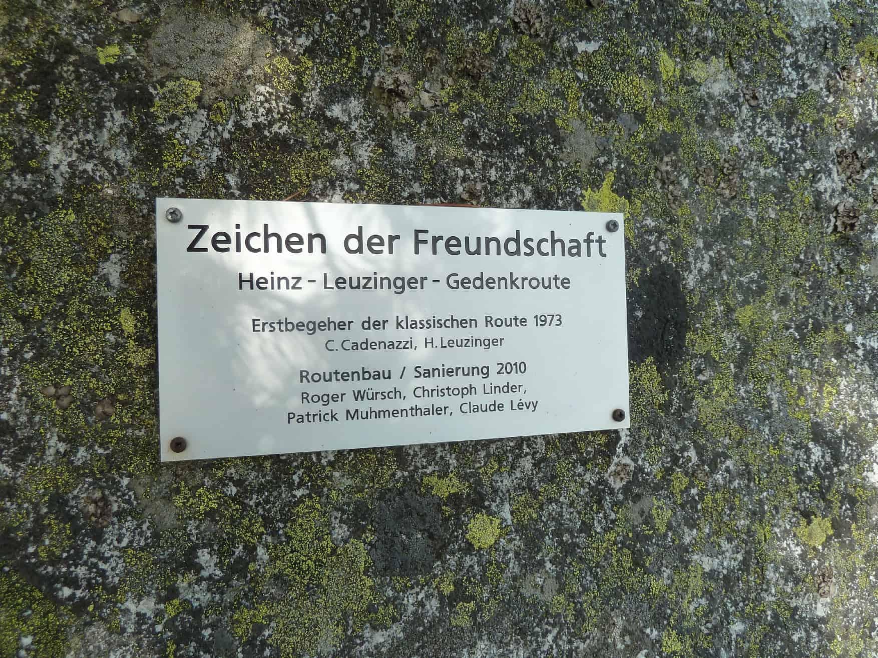 """""""Zeichen der Freundschaft"""" an der Teufelstal Wand"""
